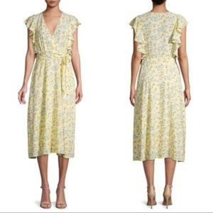 1.STATE Floral Ruffle Faux Wrap Dress Size 12